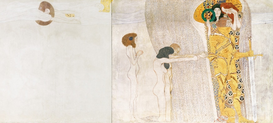 Gustav Klimt, Beethoven Frieze, Secession, Vienna, left side