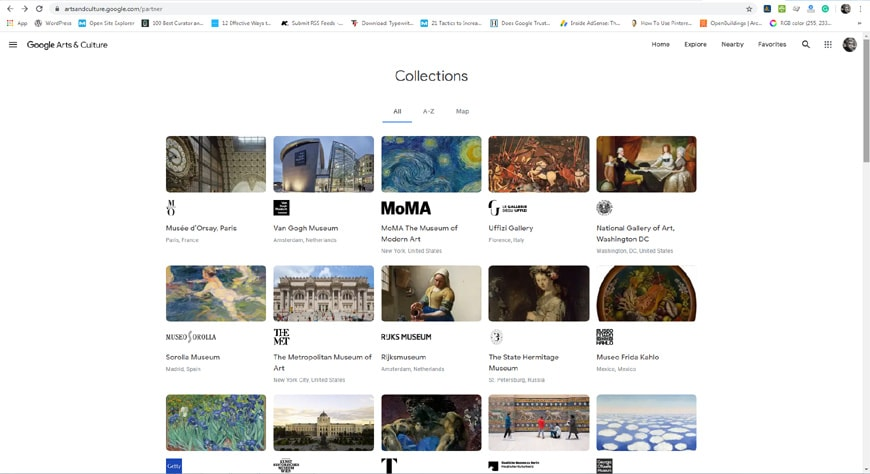 Google Arts & Culture partners page