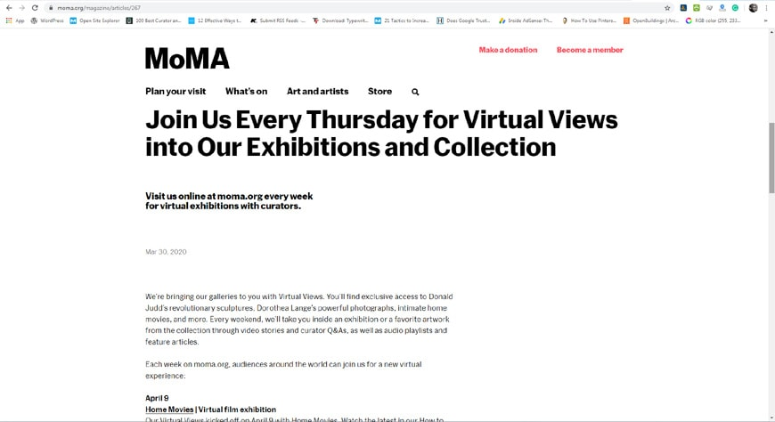 MoMA virtual visits page