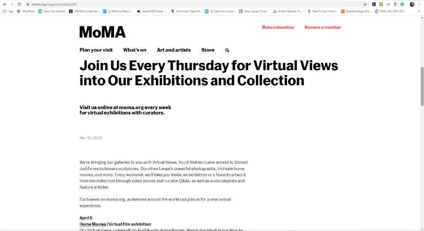 MoMA virtual visits page