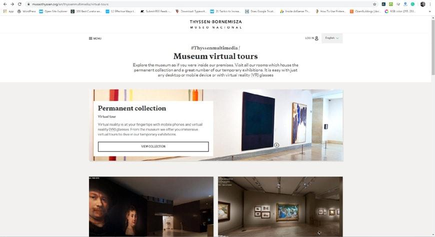 Thyssen Bornemisza Museum Madrid vistual visit page