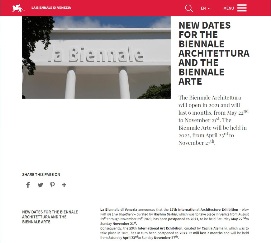 Venice Art Biennale 2021 postponed to 2022