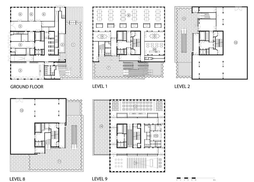 MAS Museum aan de Stroom Antwerp Neutelings Riedijk Architecten floor plans