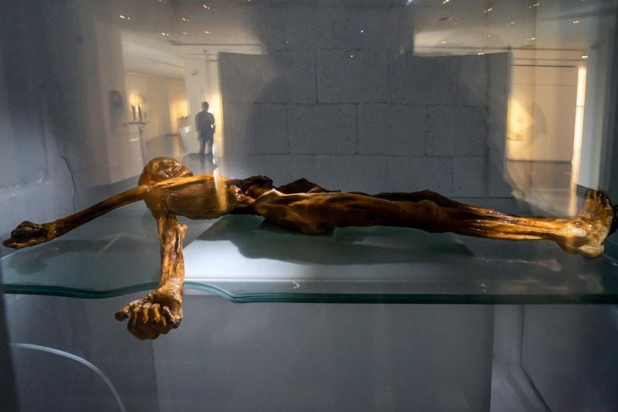 Otzi Iceman prehistoric mummy Archaeological Museum Bolzano Bozen
