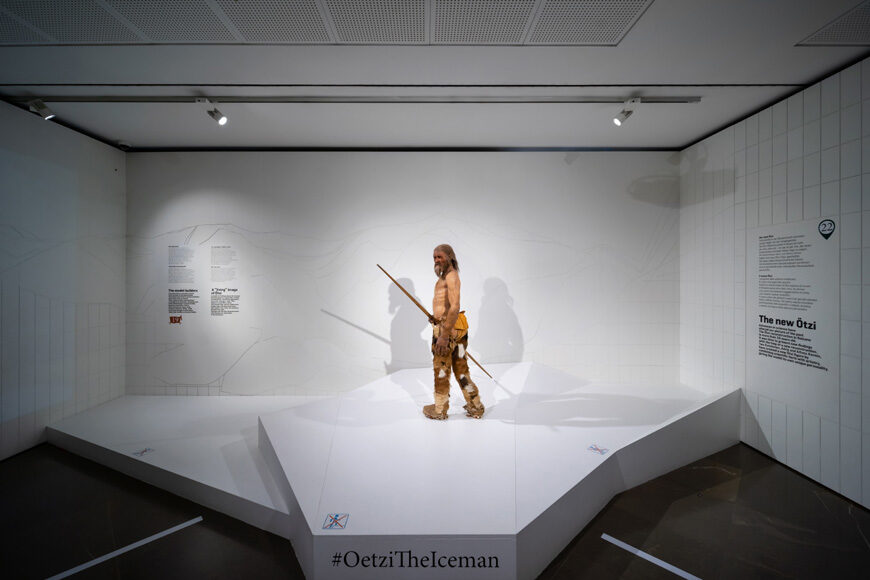 Otzi Iceman prehistoric mummy reconstruction Archaeological Museum Bolzano Bozen Inexhibit 1