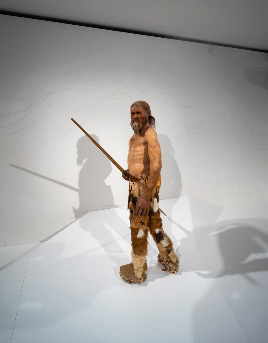 Otzi Iceman prehistoric mummy reconstruction Archaeological Museum Bolzano Bozen Inexhibit 2