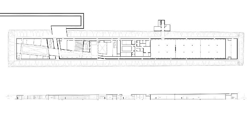 Rivesaltes Camp Memorial and Museum, Rudy Ricciotti, plan and longitudinal section