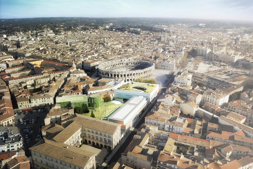 Musée de la Romanité, Nîmes, Elizabeth de Portzamparc, aerial view