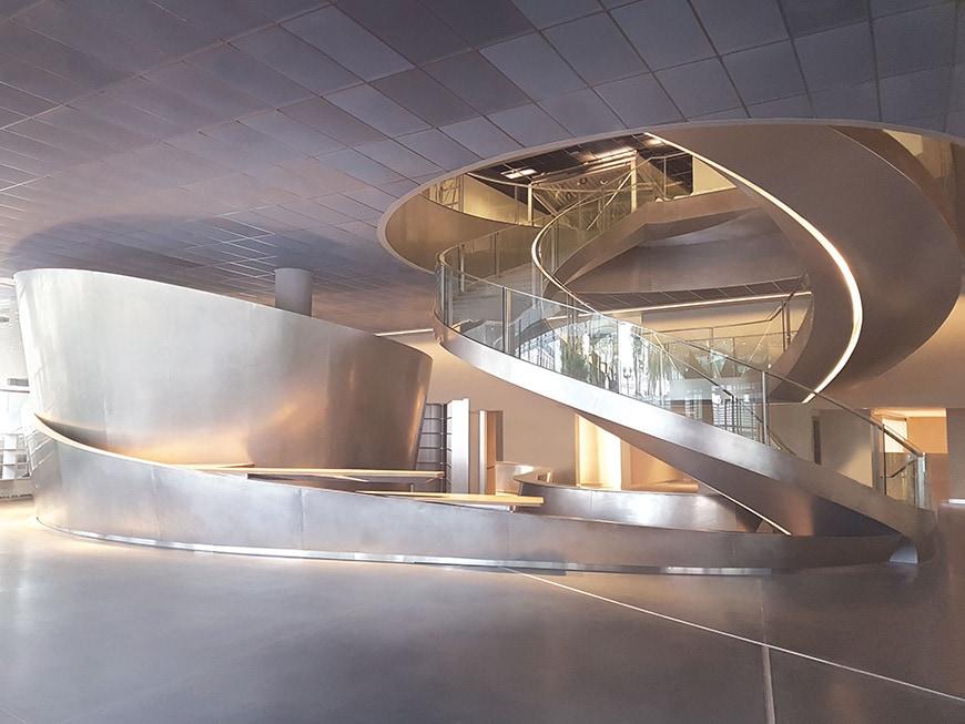 Musée de la Romanité, Nîmes, Elizabeth de Portzamparc, double spiral staircase