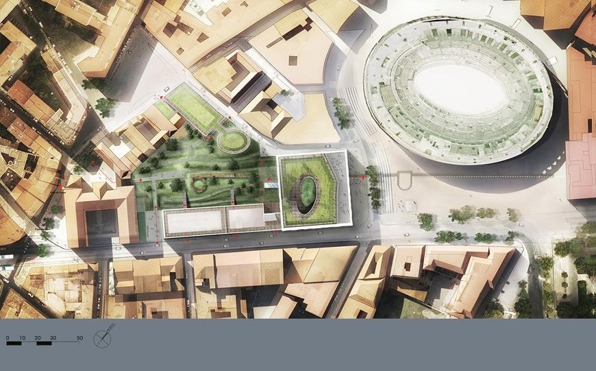 Musée de la Romanité, Nîmes, Elizabeth de Portzamparc, site plan