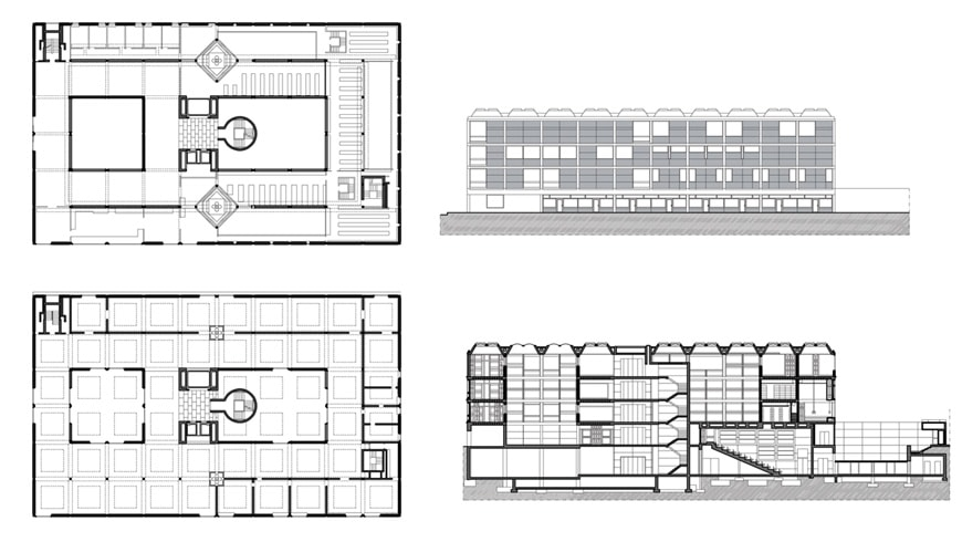 Louis Kahn Yale Center for British Art New Haven plan elevation section