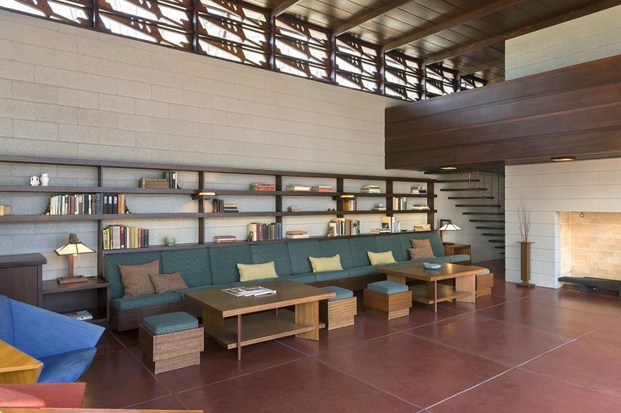 FL Wright Bachman-Wilson House living room