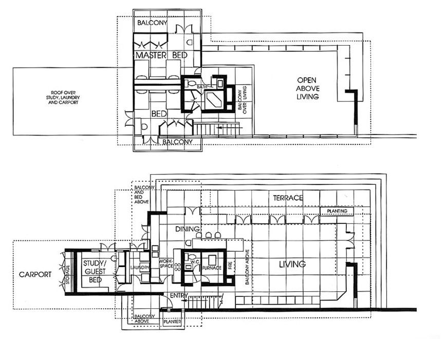 FL Wright Bachman-Wilson House plan