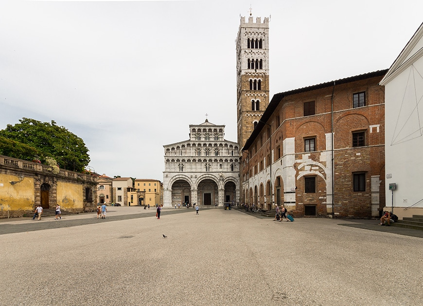 Lucca Cathedral, medieval facade and bell tower, Tuscany, Italy, photo Inexhibit