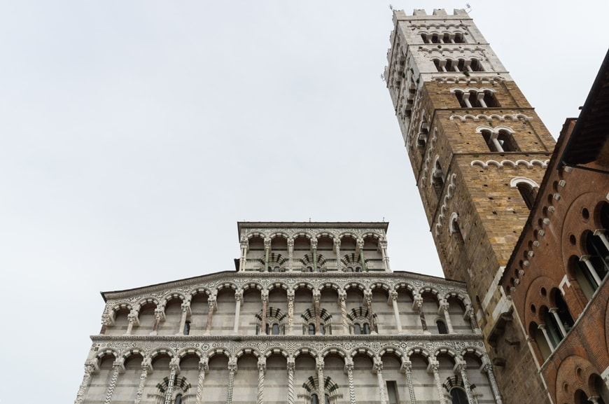 Lucca Cathedral, medieval gothic facade and bell tower, Tuscany, Italy