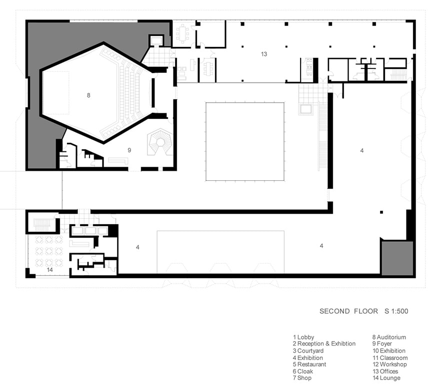 Aga Khan Museum Toronto, Fumihiko Maki, second floor plan