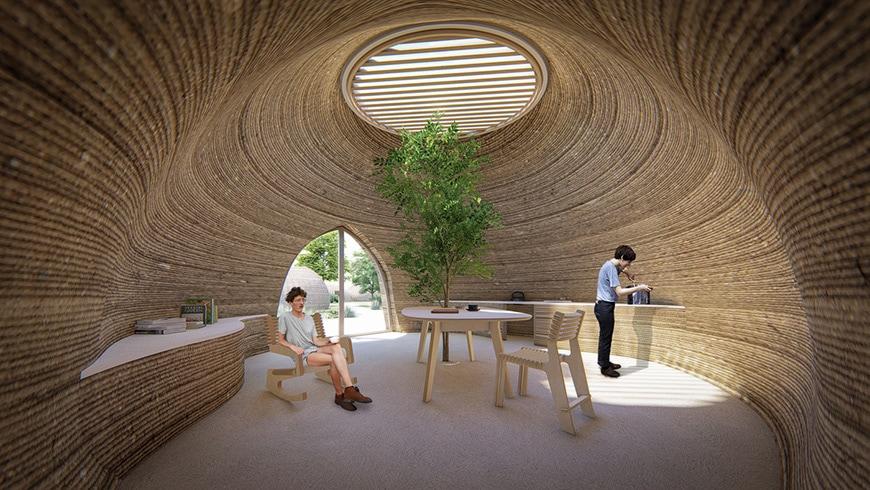 Tecla 3D printed clay house WASP Mario Cucinella rendering 2