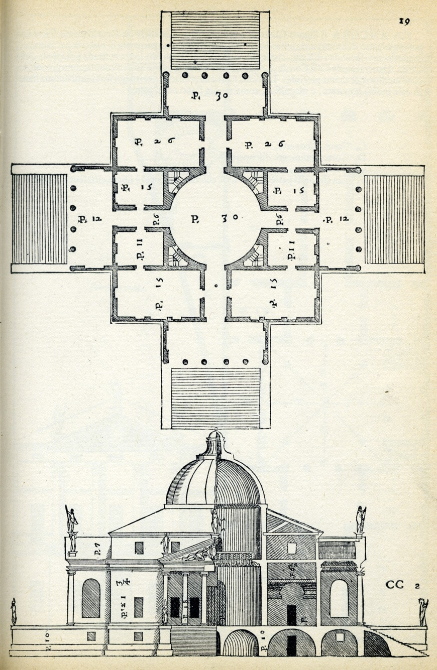Villa La Rotonda Andrea Palladio drawing frpm Four Books of Architecture