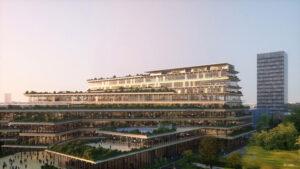 Kengo-Kuma-biophilic-office-Milano-V-04-Exterior-Render-Flyover-South-East-c-Luxigon