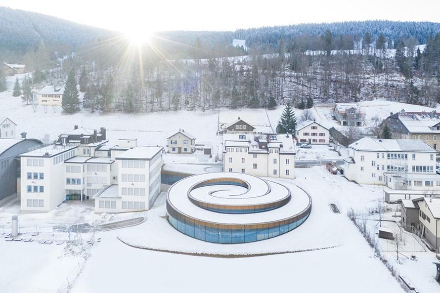 Musée Atelier Audemars Piguet, Le Brassus, Switzerland, Bjarke Ingels Group, aerial view