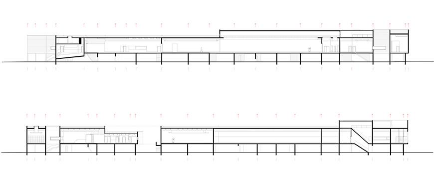 Nadir Afonso Contemporary Art Museum Chaves, Alvaro Siza longitudinal sections