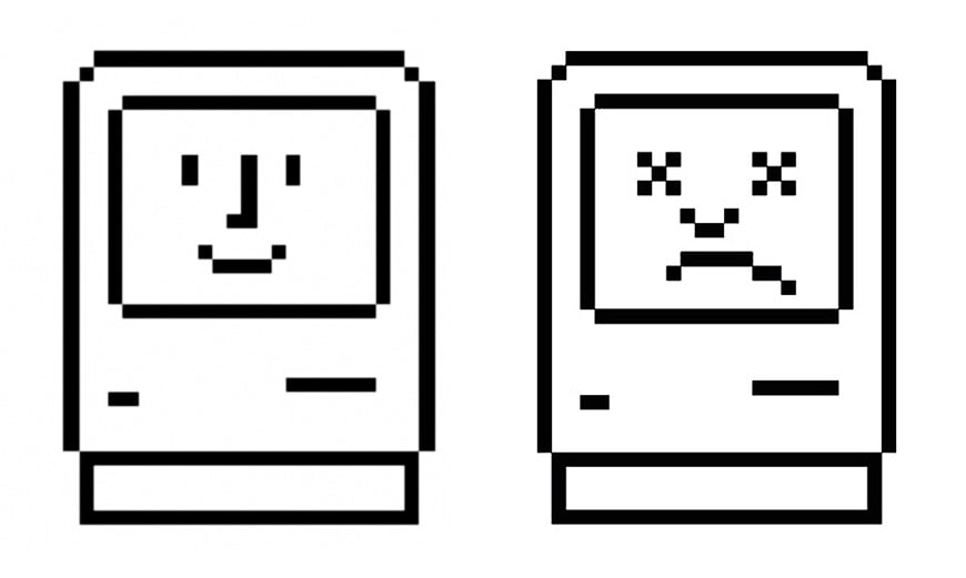 Happy Mac and sad Mac icons Susan Kare