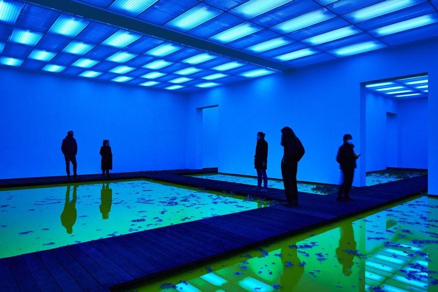 Olafur-Eliasson-Life-Beyeler-interior-blu-light-photo-Mark-Niedermann