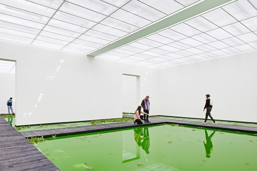Olafur-Eliasson-Life-Beyeler-interior-with-people-photo-Mark-Niedermann