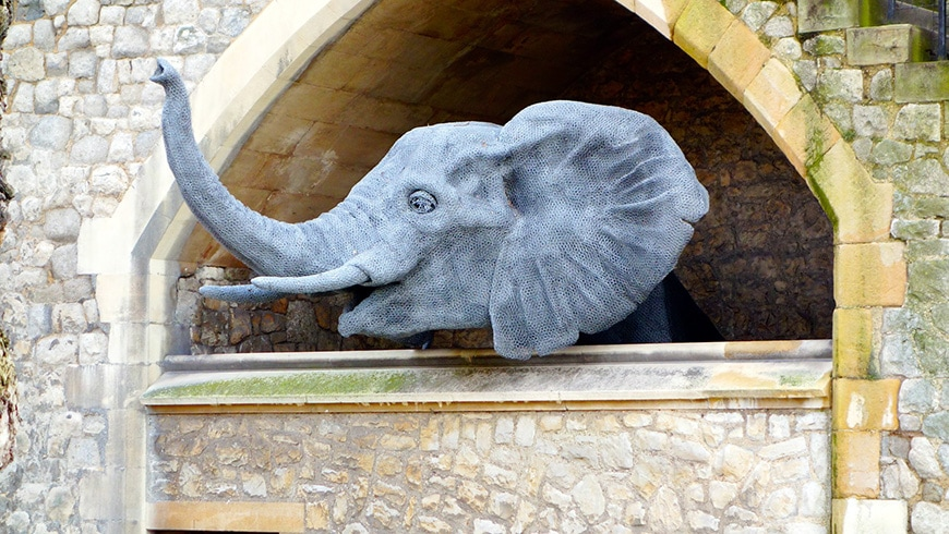 Tower of London, Elephant sculpture by Kendra Haste