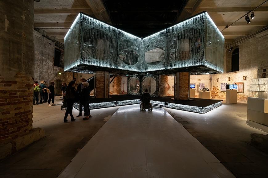 Achim Menges Jan Knippers, glass and carbon fibers building, Venice Architecture Biennale 2021, Bianchini Inexhibit s