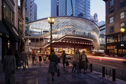 SOM-Chicago-State-Lake-station-external view-night