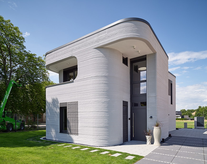 3D-printed detached house, Beckum, Germany, Peri Group exterior